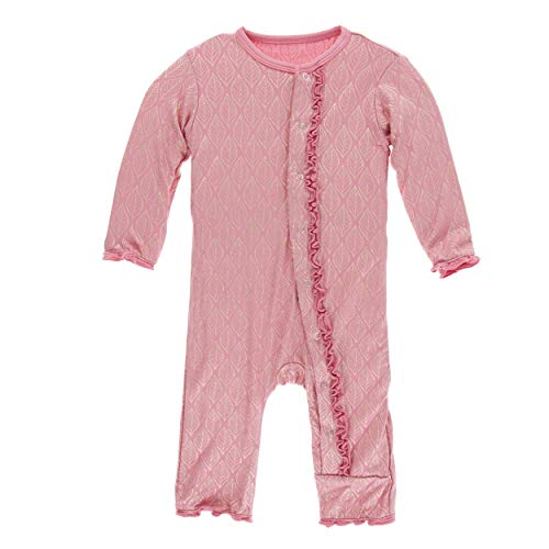 Kickee Pants Little Girls Print Muffin Ruffle Coverall with Snaps - Desert Rose Gold Leaf, 0-3 Months]()