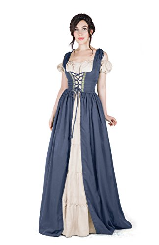 Renaissance Medieval Irish Costume Over Dress & Boho Chemise Set (L/XL, Charcoal)