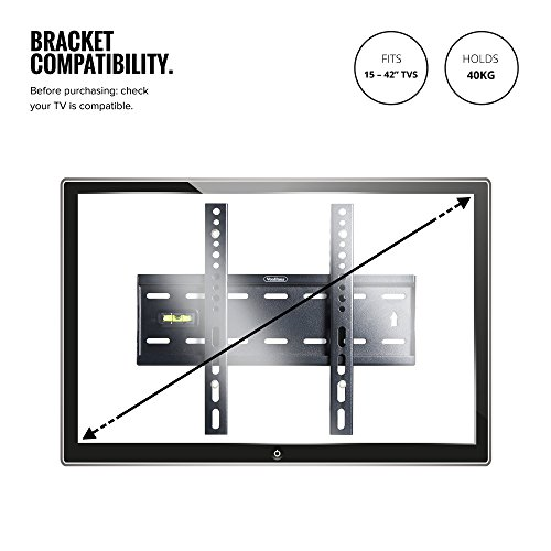 VonHaus 15-42' Fixed TV Wall Mount Bracket with Built-In Spirit Level for...