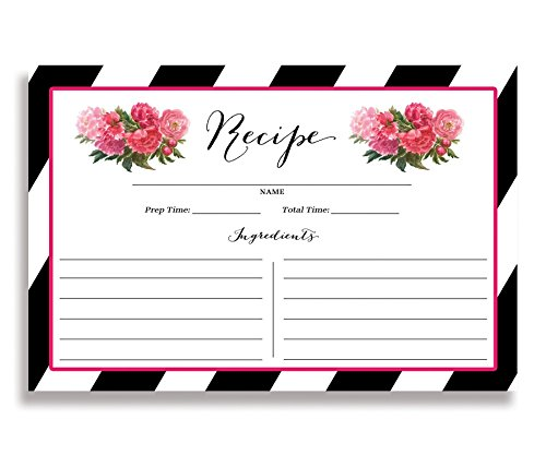 Floral and Black Stripe Recipe Cards (Set of 25) 4x6 inches. Double Sided Card Stock Recipe Card Set | Meadow