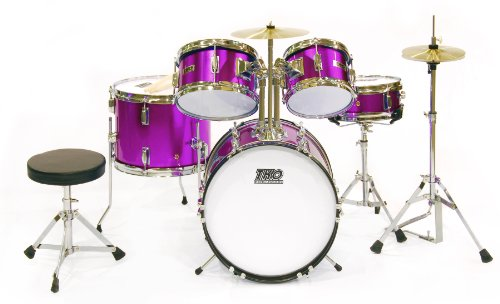 TKO TKO101MP 5-Piece Complete Junior Drum Set, Metallic Purple