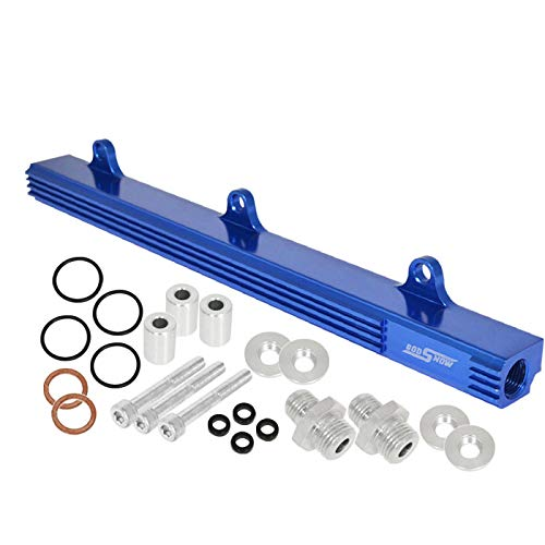 Fit Honda (B-Series B16 B18 Engines Only) Aluminum Top Feed Fuel Injector Rail Blue with Silver Fittings ()