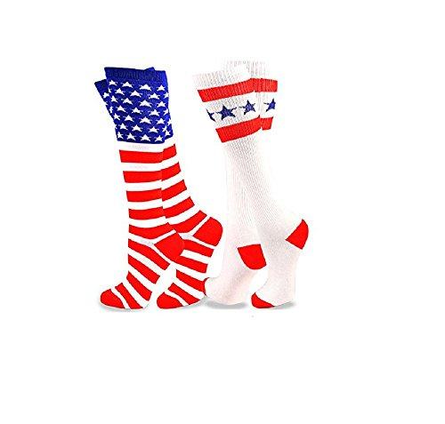 Star Knee Socks - TeeHee American Flag Women's Knee High Socks - Stars & Stripes 2-Pack,Size- 9-11