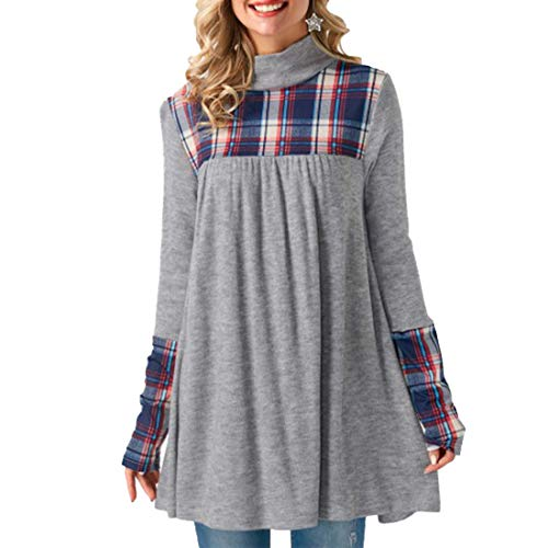 (Belgius Women's Cowl Neck Plaid Patchwork Sweatshirt Casual Tunic Top Shirt Dress Grey L)