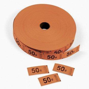 1 X Orange 50 Cents Single Roll Tickets (2000 tickets) - Bulk