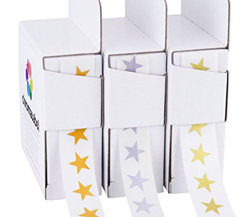 Metallic Star Sticker Gold, Silver, Bronze Variety Pack | 3 Assorted Colors | 1,000/Dispenser Box (3/8 inch)
