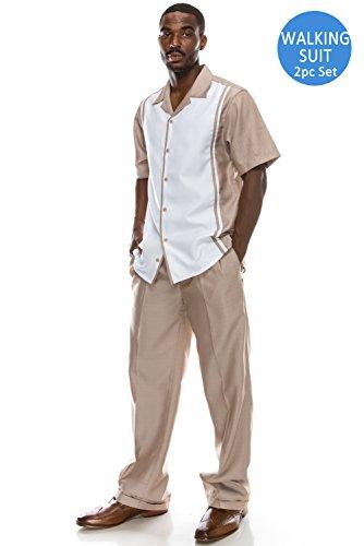 Men's Solid 2-Piece Short Sleeve Walking Suit Set BROWN Suit, (Mens Church Suits)