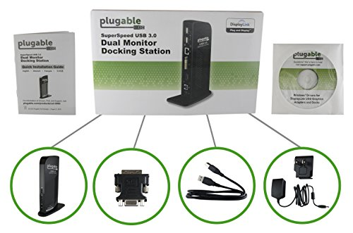 Plugable USB 3.0 Universal Laptop Docking Station for Windows (Dual Video HDMI & DVI/VGA, Gigabit Ethernet, Audio, 6 USB Ports)