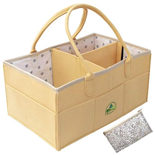 Baby Diaper Caddy Organizer - Large Portable Nursery Storage Bin for Diapers Toys |Sturdy Boy Girl Changing Table Kit and Car Travel Bag | Perfect Baby Shower Gift | Cosmetic Pouch Included