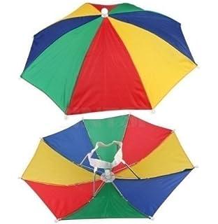 12 Pack Rainbow Umbrella Hat Cap Multicolor Hands Free with Head Strap for  Beach (12 041627badbfc
