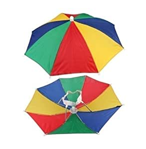 12 Pack Rainbow Umbrella Hat Cap Multicolor Hands Free with Head Strap for Beach (12)