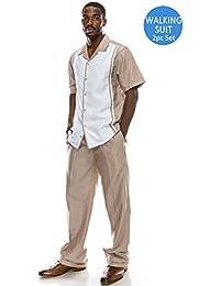 Men's Solid 2-Piece Short Sleeve Walking Suit (Big Size Plus Size Upto 6XL)