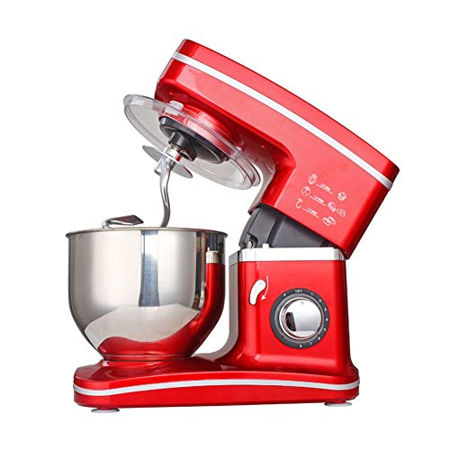 1200W Red Food Stand Mixer, 5 Litre Mixing Bowl With Splash Guard - Includes Beater, Dough Hook & Whisk