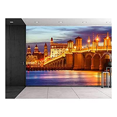 Elegant Piece of Art, Large Wall Mural Beautiful Night View of St Augustine Florida USA City Skyline and Bridge of Lions Vinyl Wallpaper Removable Decorating, That You Will Love