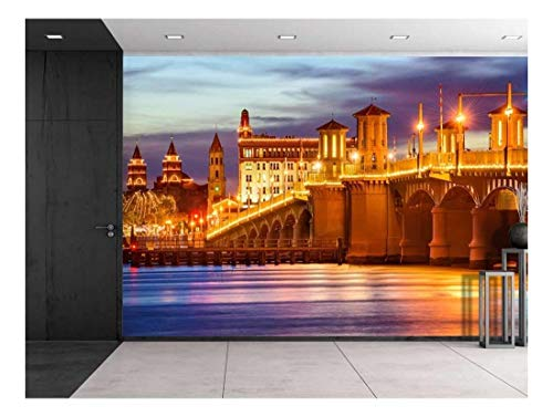 Large Wall Mural Beautiful Night View of St Augustine Florida USA city skyline and Bridge of Lions Vinyl Wallpaper Removable Decorating