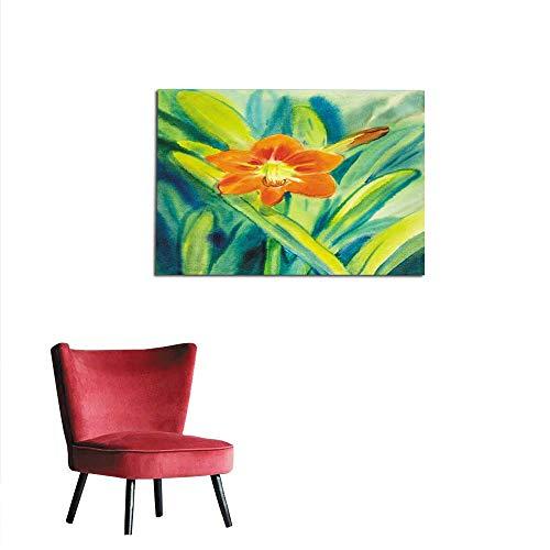 - Wallpaper Watercolor Painting Original red Flower of Amaryllis Flower Mural 32