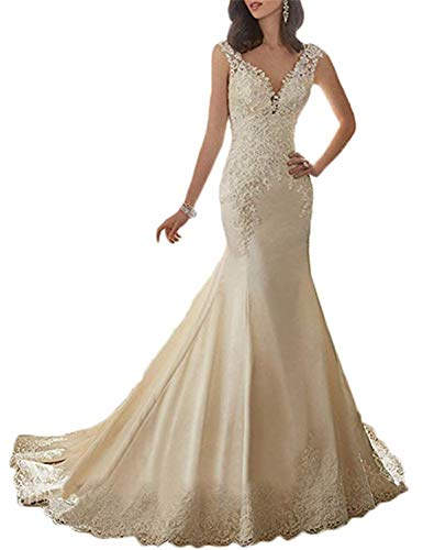 LINDO NOIVA Women's Mermaid Wedding Dresses for Bride 2019 Long Lace Open Back Bridal Gowns LN150 Champagne Size 14