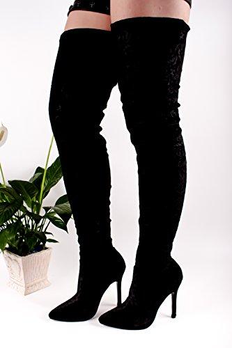 Lolli Couture Fluweel Multi Bloemenprint Punt Teen Rits Over De Knie Laarzen Schoenen Zwart-m33-5