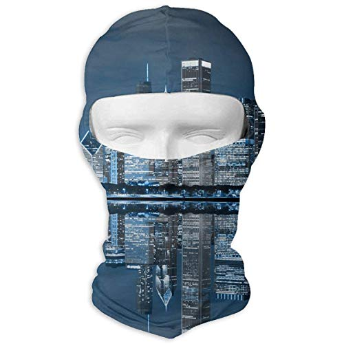 Tesdfk Night Cityscape Winter Ski Full Face Mask Windproof Balaclava Hood for Men and Women ()