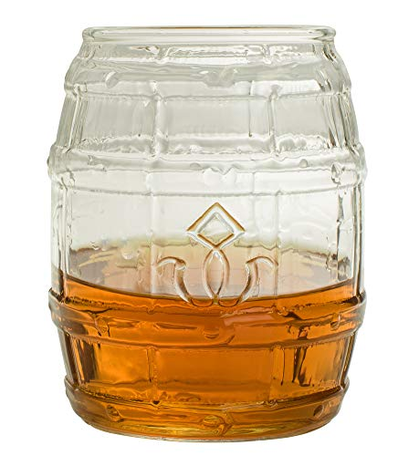 Barrel Shaped Whiskey Glass - 10 oz Unique Rocks Glass for Bourbon, Rum, Tequila, Scotch - Old Fashioned/Rocks Glasses from Prestige Decanters (Set of Two)