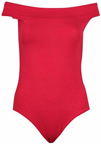 Damen Bodytop schulterfrei ärmellos - 40-42, Rot