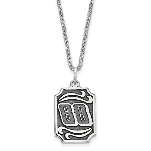 Jr Sterling Silver Large Pendant (Sterling Silver 88 Bali Type Vertical Pendant 18 inch Silver Chain Necklace)