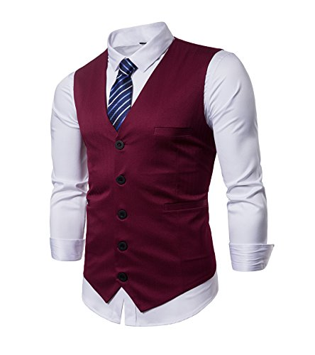 AOYOG Mens Business Suit Vest Slim Fit Formal Waistcoat Classic Blue Striped Necktie by AOYOG