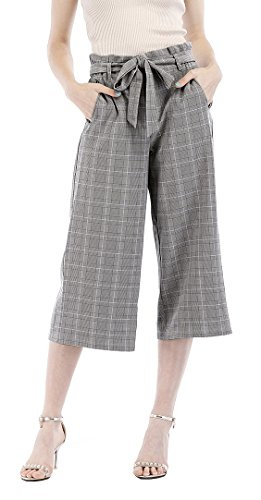 Benjuk Women Hight Waist Wide Leg Pants Plaid Pattern Palazzo Cropped Trousers (Grey, S) Cropped Pocket