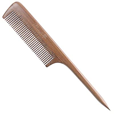 Breezelike Wooden Hair Comb with Gift Box - No Static Natural Hair Detangler Comb - Handmade Fine Tooth Teasing Tail Comb