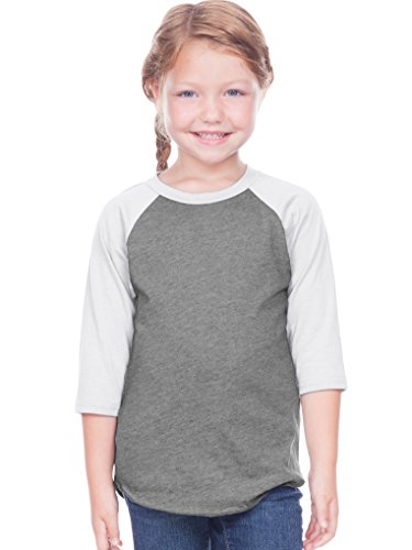 (Kavio! Toddlers Jersey Contrast Raglan 3/4 Sleeve Dark H.Gray/White 5T)