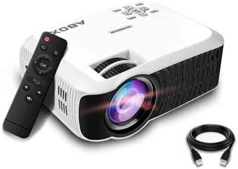 ABOX T22 Upgraded 2400 Lumens Portable LCD Video Projector, GooBang Doo Multimedia Home Theater Video Projector Support 1080p HDMI USB SD Card VGA AV for Home Cinema TV - White