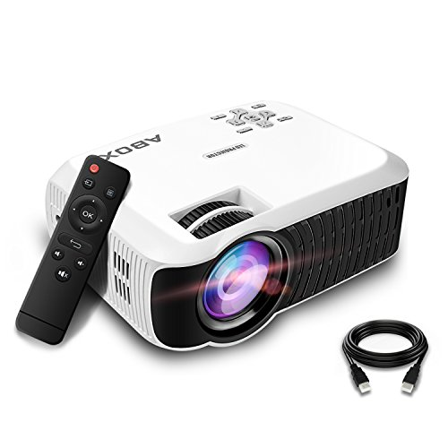 GooBang Doo Projector, 2018 Updated ABOX T22 Portable Home Theater LCD Video Projector Support 1080p HDMI USB SD Card VGA AV Phone Laptops for Home Cinema TV 60 ANSI Lumen White]()