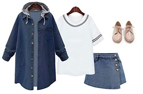 Innifer Women's Casual Long Denim Coat with Hood Long Sleeve Windbreaker Plus Size Jean Jacket Outwear by Innifer (Image #1)