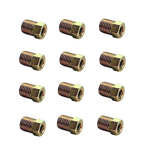 DEWHEL 12PCS 3/8-24 Inverted Flare Gold Zinc Tube Nut Fitting 3/16 Steel Brake Line Tubing ()
