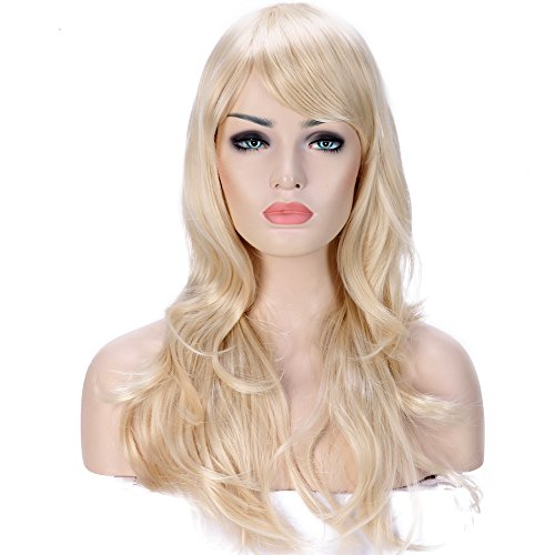Long Anime Cosplay Full Wig with Bangs 20 Colors Heat Resistant Fiber Synthetic Wig Layered Curly Wavy 23'' / 58cm+Stretchable Elastic Wig Net for Women Girls Lady Fashion(linen -