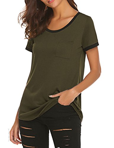 Green Tee T-shirt Top - Qearal Women's Pocket Color Block T-Shirts Tank Tops XL Army Green