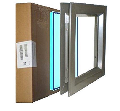 Low Profile Door Lite Kit, Dark Bronze, with Tempered Glass-Glazing, 7''(W)x22''(H) Door Cutout, Wood Door Lite Kit, Metal Door Lite Kit by Air Louvers