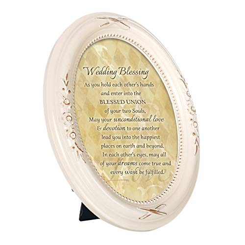 Cottage Garden Wedding Blessing Every Wish Ivory Floral 5 x 7 Oval Table Top and Wall Photo Frame