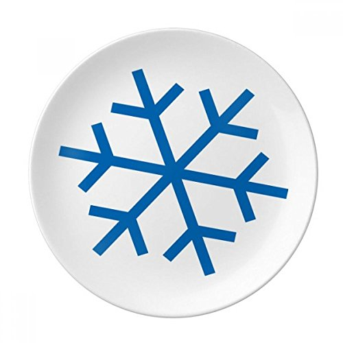 Winter Sport Snowflake Blue Silhouette Dessert Plate Decorative Porcelain 8 inch Dinner Home