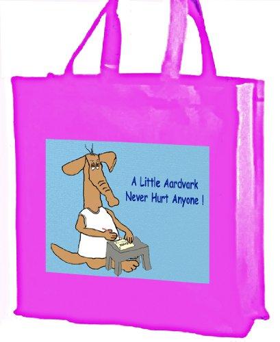 Cartoon, a little Aardvark Never Hurt anyone. Borsa shopping in cotone, rosa