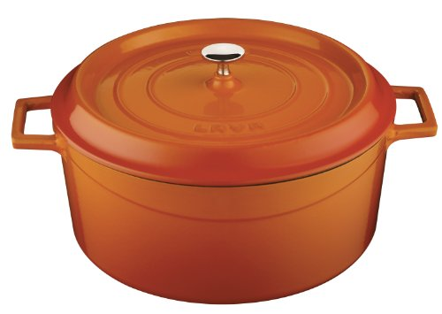 Lava Signature Enameled Cast-Iron Round Dutch Oven - 10-1/2 Quart, Orange Spice