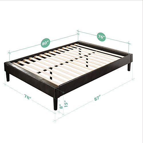 Essential Faux Leather Upholstered Platform Bed Frame / Mattress Foundation / no Boxspring needed / Wooden Slat Support, King