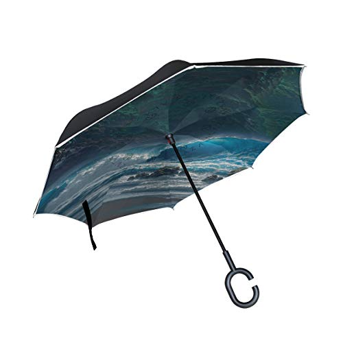 WBKCQB Landscape Beach Palm Trees Cars Reverse Open Folding Umbrellas, Windproof UV Protection Large Upside Down Straight Umbrella for Car Rain with C-Shaped Handle