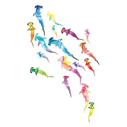 WYUEN 5 Sheets Colorful Sharks Women Body Art Tattoo Sticker For Men Fake Waterproof Temporary Tattoo New Designs 10.5X6cm FA-002 (Shark Tattoo)