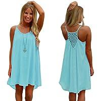 Franterd vestido corto para playa de verano, tirantes finos, diseño de huecos, de chifón, para mujer