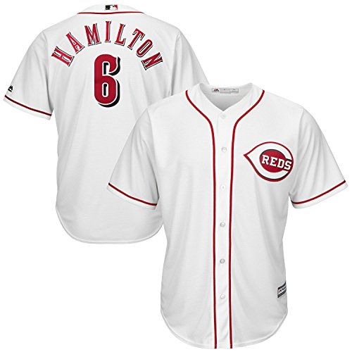 OuterStuff Billy Hamilton Cincinnati Reds White Youth Cool Base Home Replica Jersey (Large 14/16)