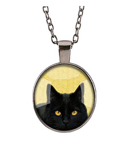 Darkey Wang Woman Fashion Style Glass Pendant Diamond Black Cat Halloween (Rock Halloween Hulk)