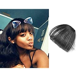 9A 100% Malaysian Virgin Clip in Bangs Human Hair Extensions Flat/Fringe Bangs with Temple LIght and Soft Hand Tied Fashion Hair Extensions for Girls (Clip in Bangs, 1b/Natural Black)
