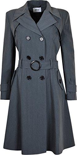 Damen Doppelreihiger Long Coat Fit und Flare Damen Mantel mit innen Futter Grau - Grau RbvoxING