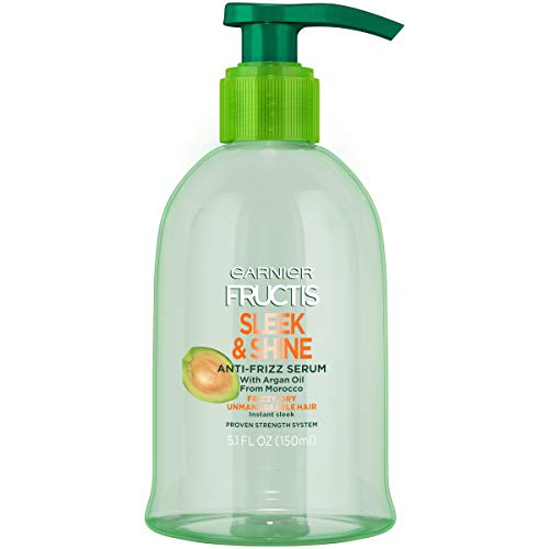 Garnier Fructis Sleek & Shine Anti-Frizz Serum, Frizzy, Dry, Unmanageable Hair, 5.1 fl. oz. (Best Drugstore Anti Frizz Serum)